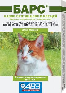 БАРС Капли для кошек против блох и клещей (1 пипетка х 1 мл)