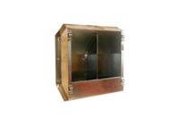 Кормушка бункерная оцинкованная металлическая двухсекционная с крышкой