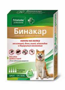 Бинакар инсектоакарицидные капли д/средних собак от блох и клещей, 1 мл