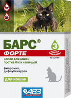 Барс ФОРТЕ, капли для кошек, 1 пип
